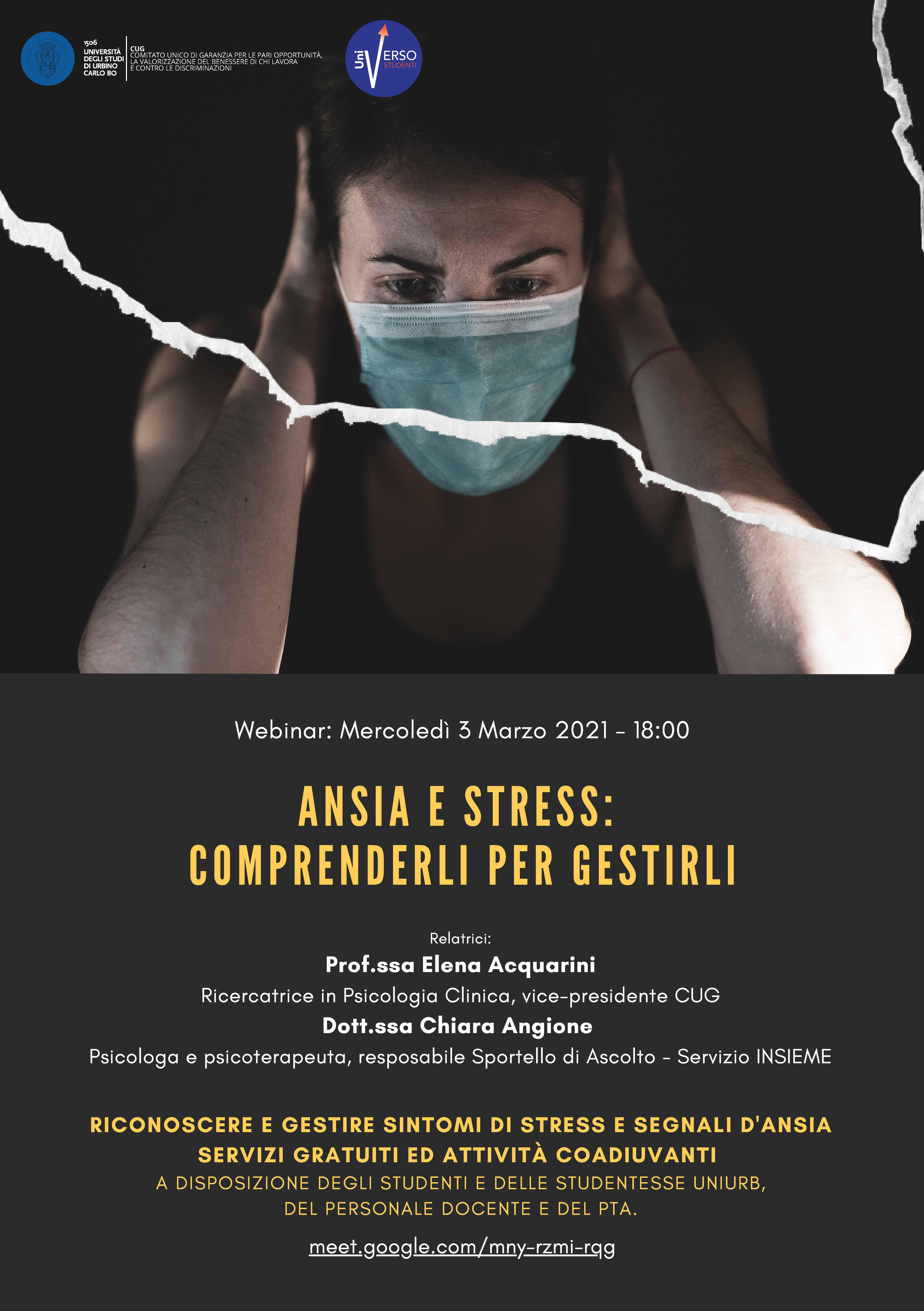 """Ansia e stress: comprenderli per gestirli"""" - mercoledì 3 marzo ore 18.00"""